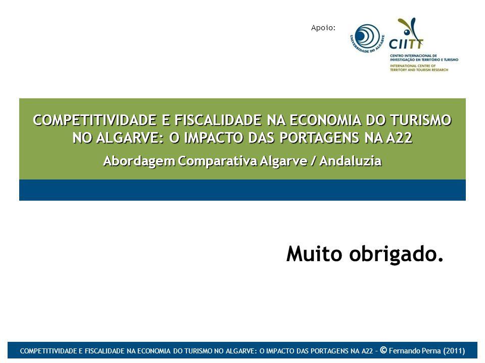 COMPETITIVIDADE E FISCALIDADE NA ECONOMIA DO TURISMO NO ALGARVE: O IMPACTO DAS PORTAGENS NA A22 Abordagem Comparativa Algarve / Andaluzia Muito obrigado.