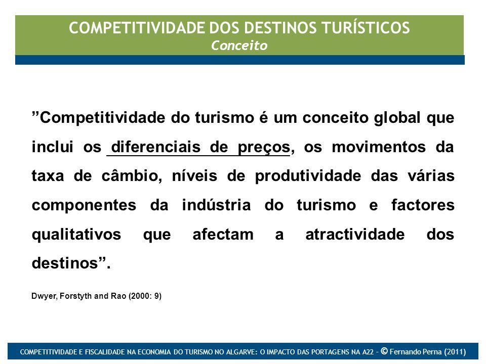 COMPETITIVIDADE DOS DESTINOS TURÍSTICOS Conceito Competitividade do turismo é um conceito global que inclui os diferenciais de preços, os movimentos da taxa de câmbio, níveis de produtividade das várias componentes da indústria do turismo e factores qualitativos que afectam a atractividade dos destinos .