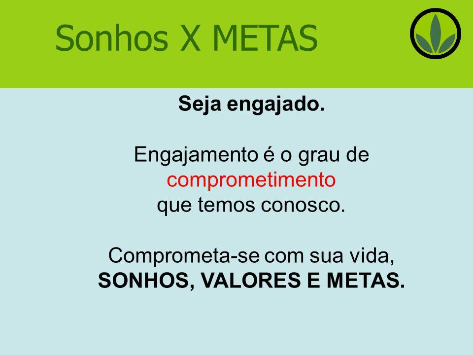 Sonhos X METAS Seja engajado.Engajamento é o grau de comprometimento que temos conosco.