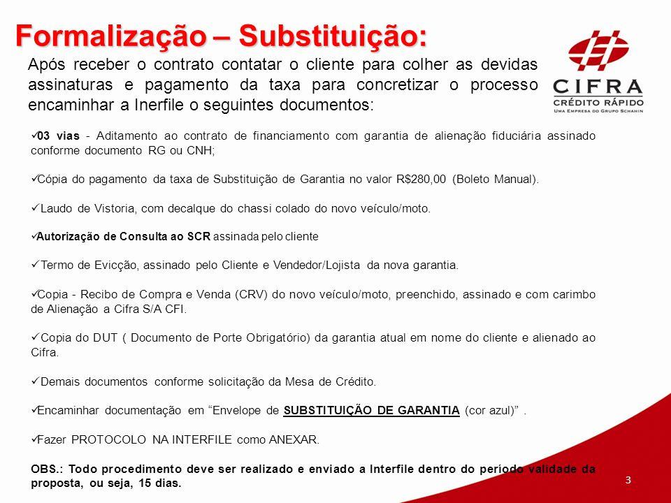 Formalização – Substituição: 03 vias - Aditamento ao contrato de financiamento com garantia de alienação fiduciária assinado conforme documento RG ou CNH; Cópia do pagamento da taxa de Substituição de Garantia no valor R$280,00 (Boleto Manual).