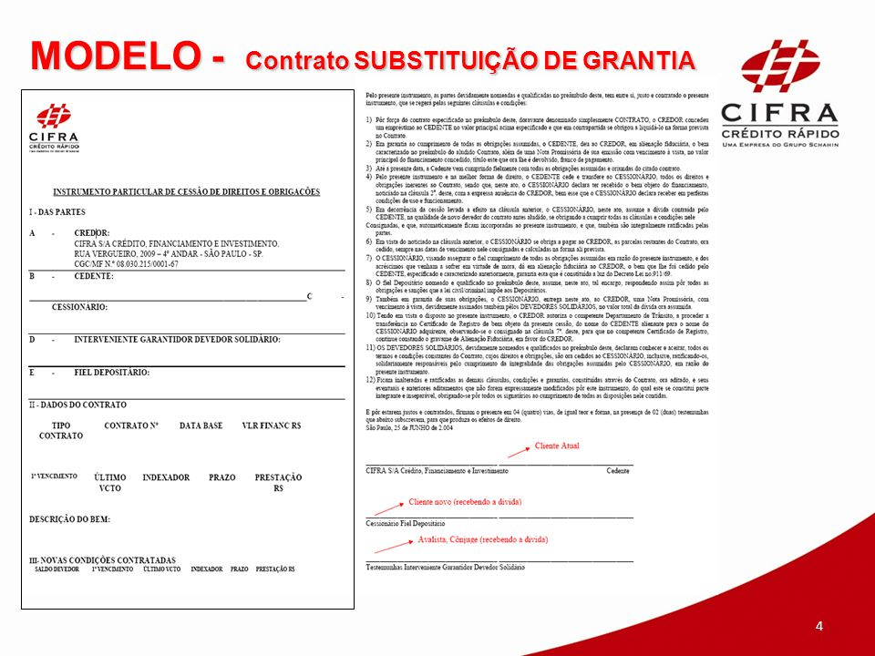 MODELO - Contrato SUBSTITUIÇÃO DE GRANTIA 4