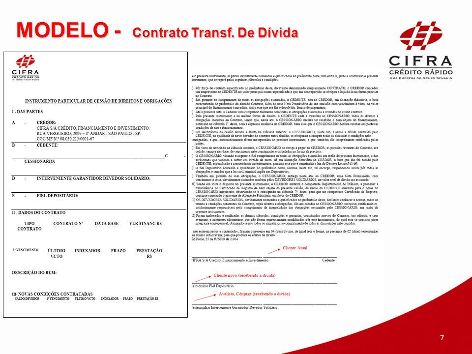 Observações Gerais O contrato de Substituição de Garantia e Transferência de Dívida é enviado pela empresa terceirizada.