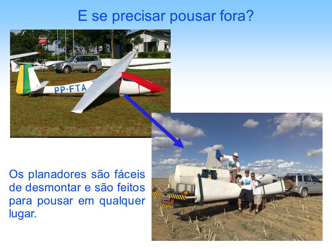 E se precisar pousar fora? Os planadores são fáceis de desmontar e são feitos para pousar em qualquer lugar.