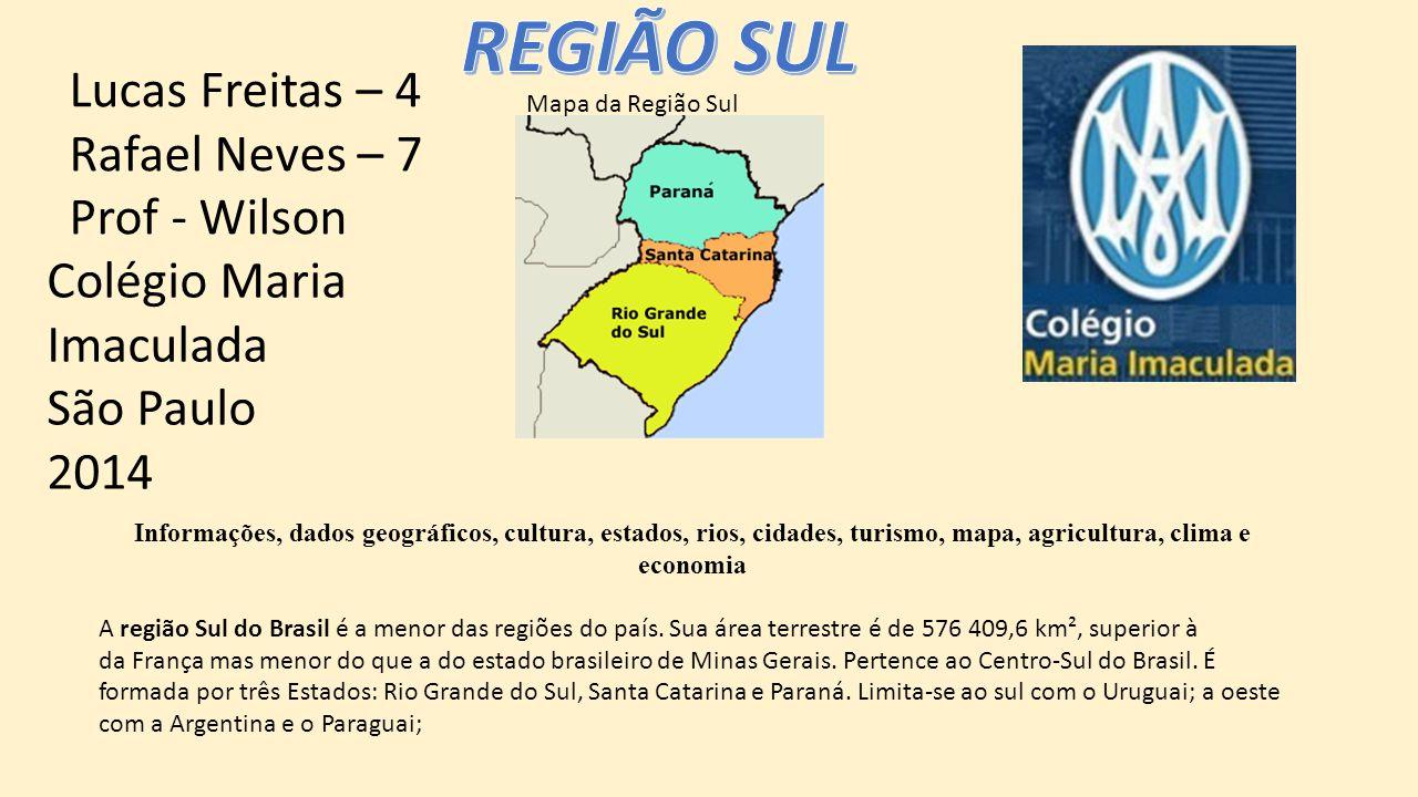 Informações, dados geográficos, cultura, estados, rios, cidades, turismo, mapa, agricultura, clima e economia A região Sul do Brasil é a menor das regiões do país.