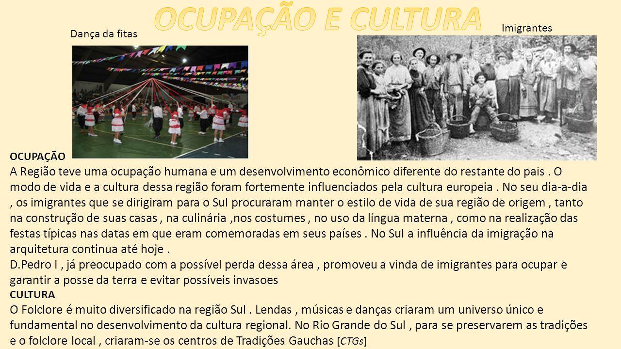 OCUPAÇÃO A Região teve uma ocupação humana e um desenvolvimento econômico diferente do restante do pais.