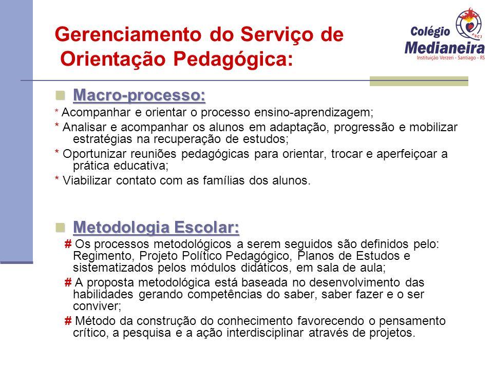 Gerenciamento do Serviço de Orientação Pedagógica: Macro-processo: Macro-processo: * Acompanhar e orientar o processo ensino-aprendizagem; * Analisar
