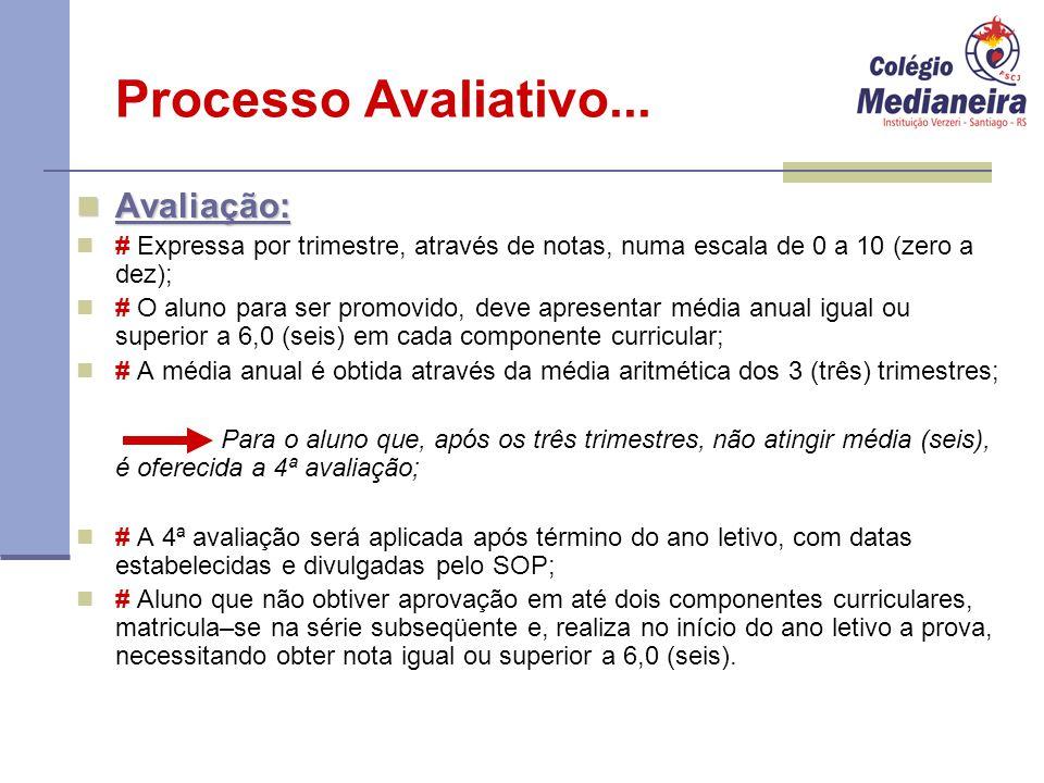 Processo Avaliativo... Avaliação: Avaliação: # Expressa por trimestre, através de notas, numa escala de 0 a 10 (zero a dez); # O aluno para ser promov