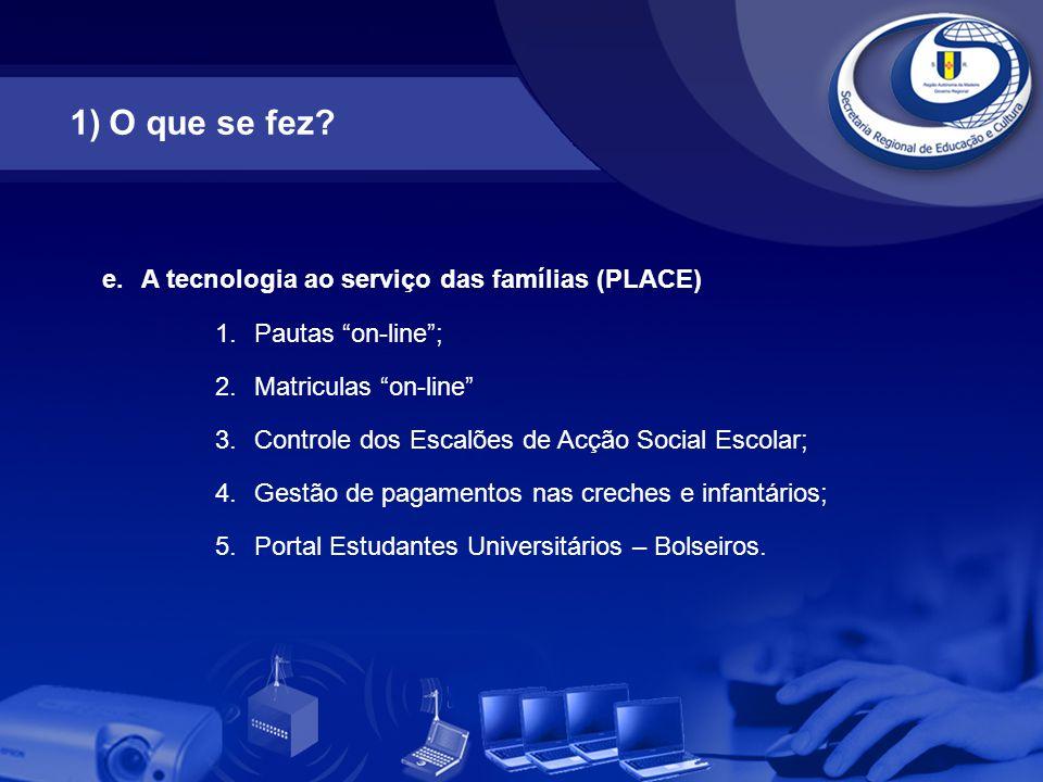"""e.A tecnologia ao serviço das famílias (PLACE) 1.Pautas """"on-line""""; 2.Matriculas """"on-line"""" 3.Controle dos Escalões de Acção Social Escolar; 4.Gestão de"""