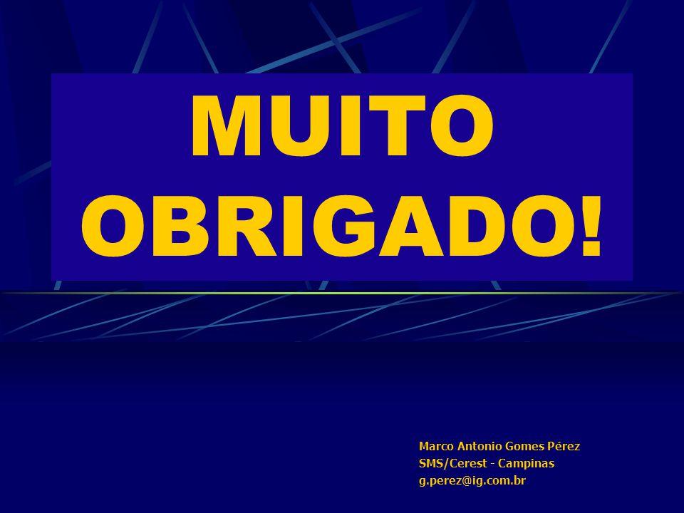 MUITO OBRIGADO! Marco Antonio Gomes Pérez SMS/Cerest - Campinas g.perez@ig.com.br