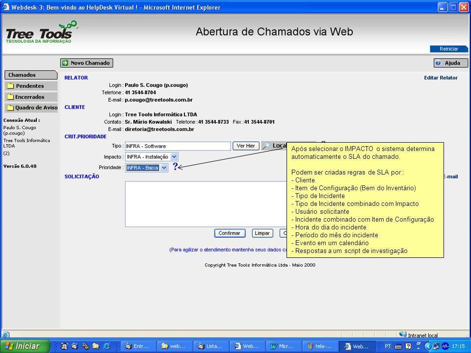 Após selecionar o IMPACTO o sistema determina automaticamente o SLA do chamado. Podem ser criadas regras de SLA por : - Cliente - Item de Configuração
