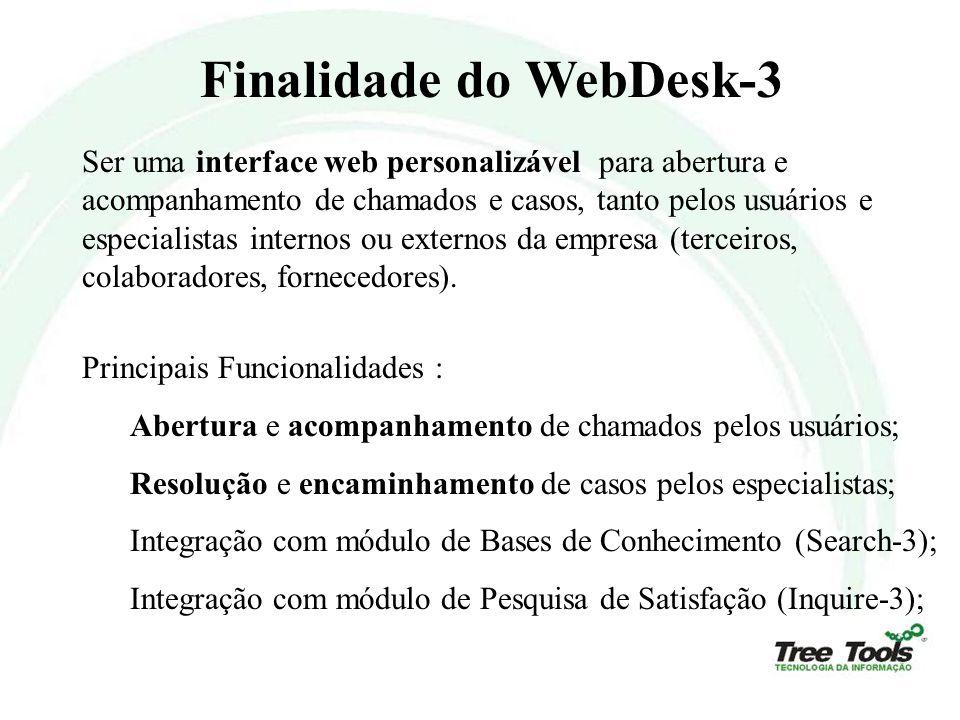 Finalidade do WebDesk-3 Ser uma interface web personalizável para abertura e acompanhamento de chamados e casos, tanto pelos usuários e especialistas