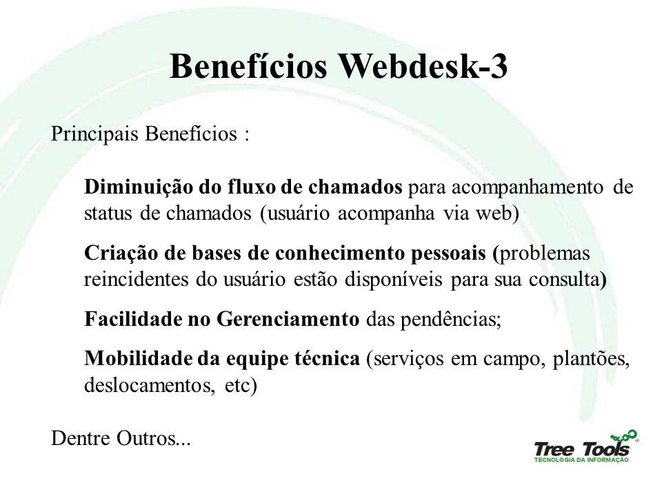 Benefícios Webdesk-3 Principais Benefícios : Diminuição do fluxo de chamados para acompanhamento de status de chamados (usuário acompanha via web) Cri