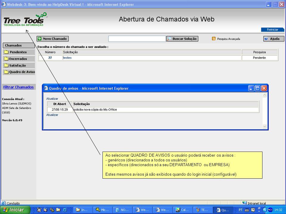 Ao selecionar QUADRO DE AVISOS o usuário poderá receber os avisos : - genéricos (direcionados a todos os usuários) - específicos (direcionados só a se
