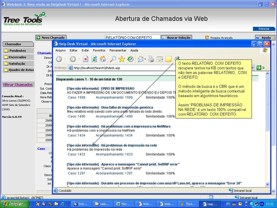 O texto RELATÓRIO COM DEFEITO recupera textos na KB com textos que não tem as palavras RELATÓRIO, COM e DEFEITO. O método de busca é o CBR que é um mé
