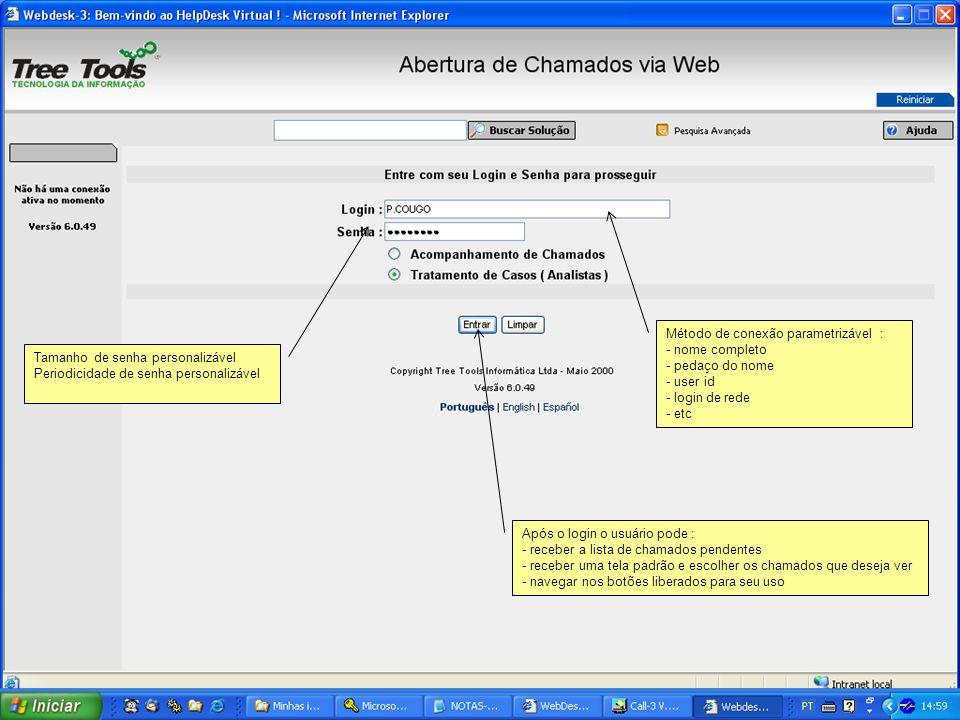 Método de conexão parametrizável : - nome completo - pedaço do nome - user id - login de rede - etc Tamanho de senha personalizável Periodicidade de s