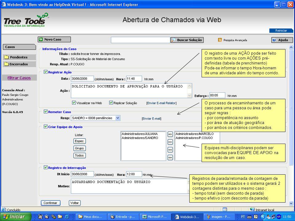 O registro de uma AÇÃO pode ser feito com texto livre ou com AÇÕES pré- definidas (tabela de prenchimento) Pode-se informar o tempo Hora-homem de uma