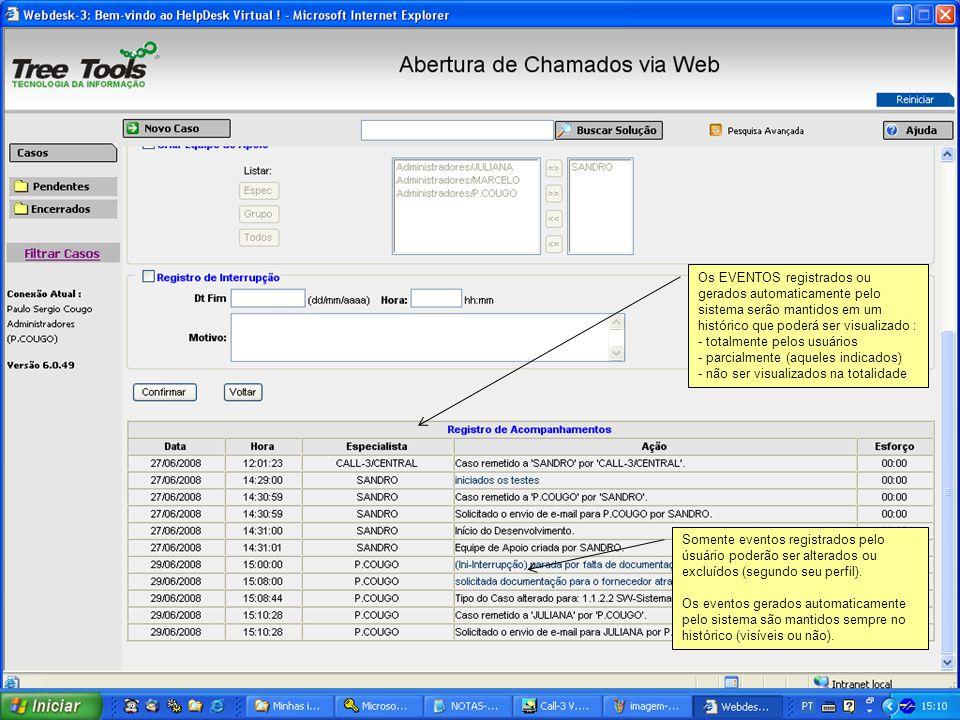 Os EVENTOS registrados ou gerados automaticamente pelo sistema serão mantidos em um histórico que poderá ser visualizado : - totalmente pelos usuários