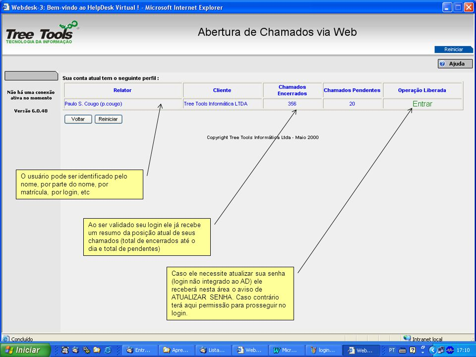 O usuário pode ser identificado pelo nome, por parte do nome, por matrícula, por login, etc Ao ser validado seu login ele já recebe um resumo da posiç