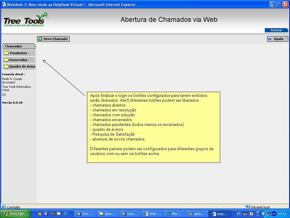 Usuário recebeu a lista de chamados pendentes (configuração escolhida).