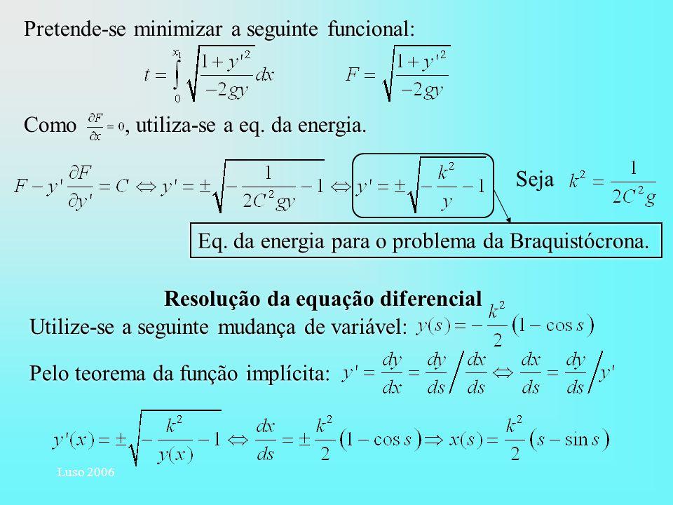 Luso 2006 Seja Pretende-se minimizar a seguinte funcional: Como, utiliza-se a eq. da energia. Eq. da energia para o problema da Braquistócrona. Utiliz