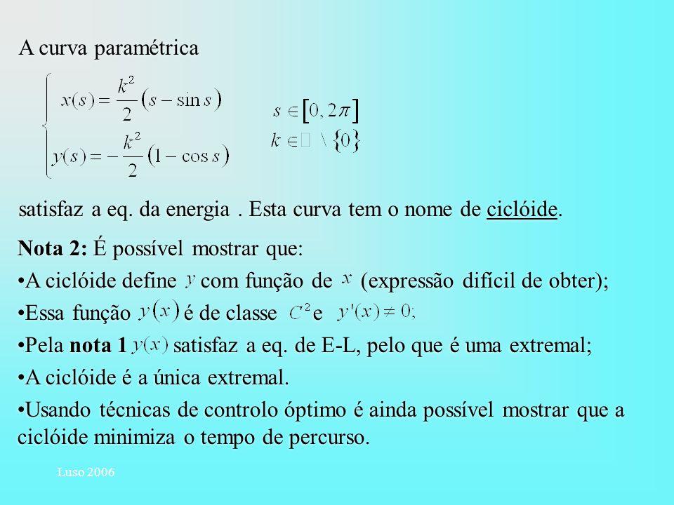 Luso 2006 A curva paramétrica satisfaz a eq. da energia. Esta curva tem o nome de ciclóide. A curva paramétrica satisfaz a eq. da energia. Esta curva