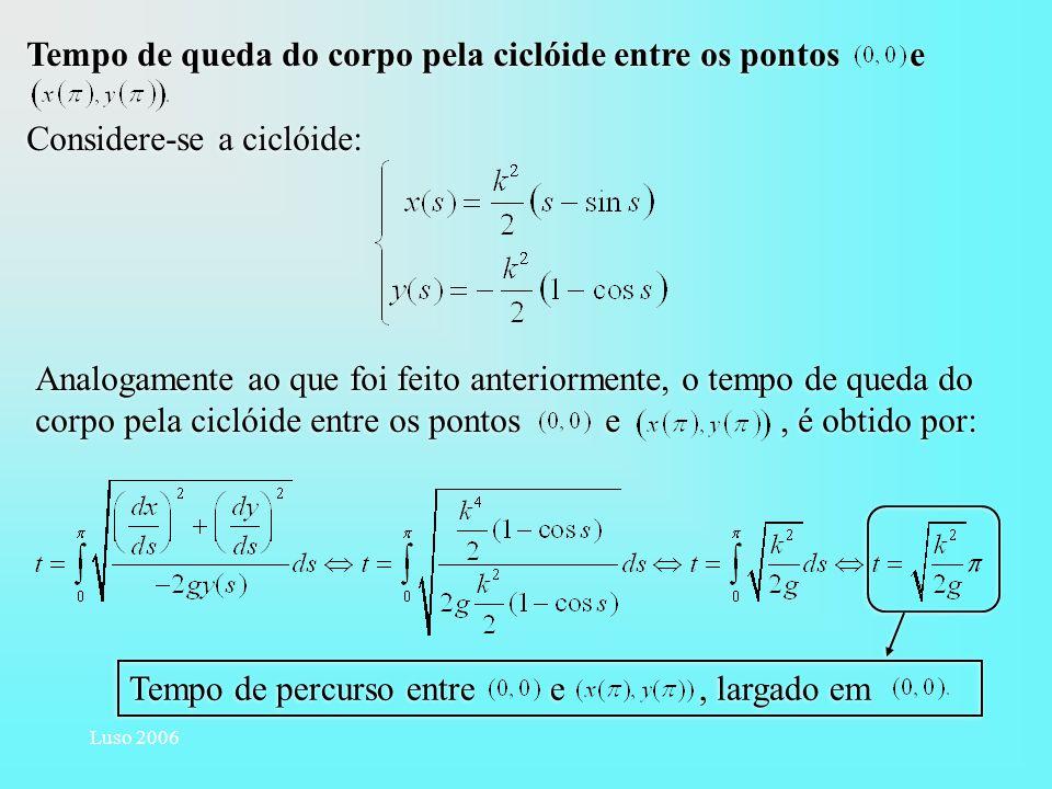 Luso 2006 Tempo de queda do corpo pela ciclóide entre os pontos e Considere-se a ciclóide: Tempo de queda do corpo pela ciclóide entre os pontos e Con