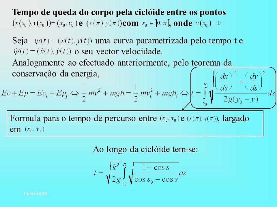 Luso 2006 Tempo de queda do corpo pela ciclóide entre os pontos e com, onde Formula para o tempo de percurso entre e, largado em Sejauma curva paramet