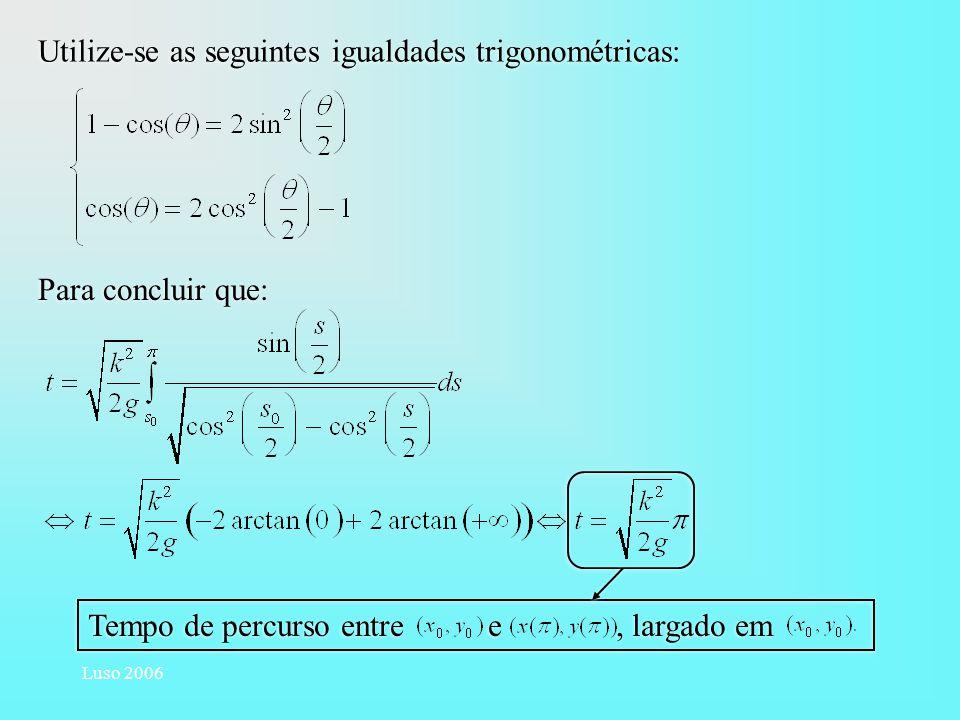 Luso 2006 Utilize-se as seguintes igualdades trigonométricas: Para concluir que: Tempo de percurso entre e, largado em