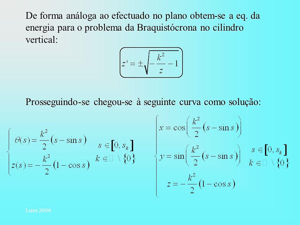 Luso 2006 De forma análoga ao efectuado no plano obtem-se a eq. da energia para o problema da Braquistócrona no cilindro vertical: Prosseguindo-se che
