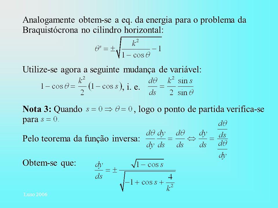 Luso 2006 Analogamente obtem-se a eq. da energia para o problema da Braquistócrona no cilindro horizontal: Utilize-se agora a seguinte mudança de vari