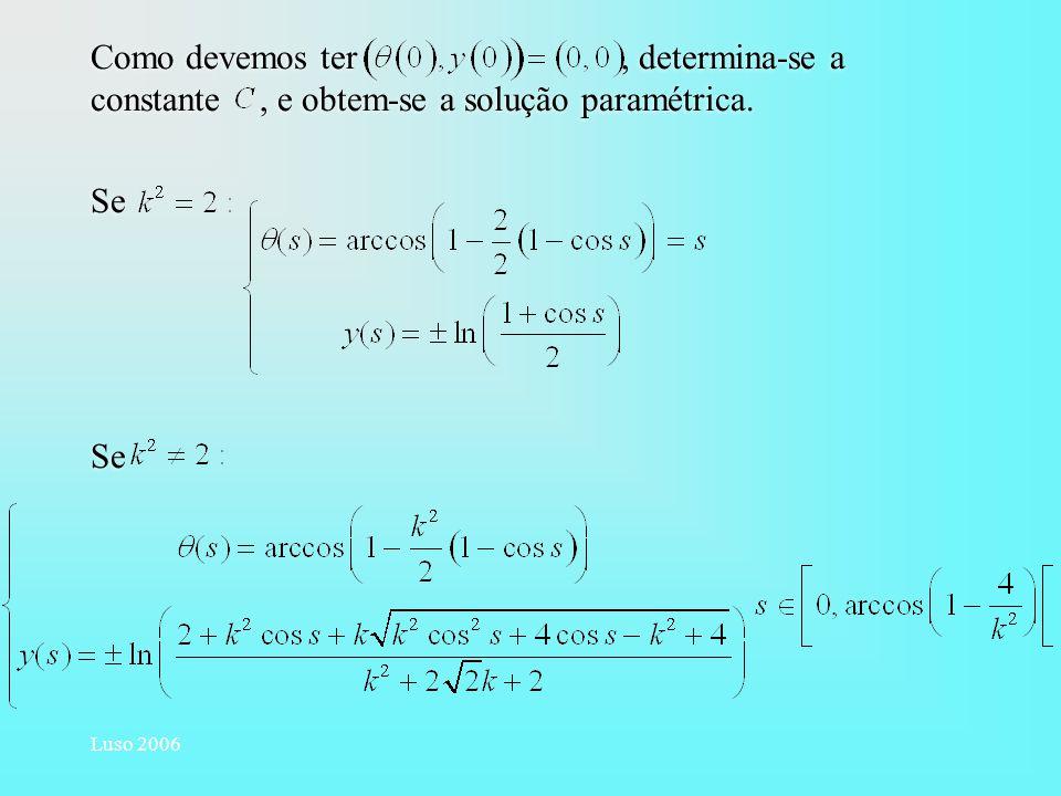 Luso 2006 Como devemos ter, determina-se a constante, e obtem-se a solução paramétrica. Se Como devemos ter, determina-se a constante, e obtem-se a so