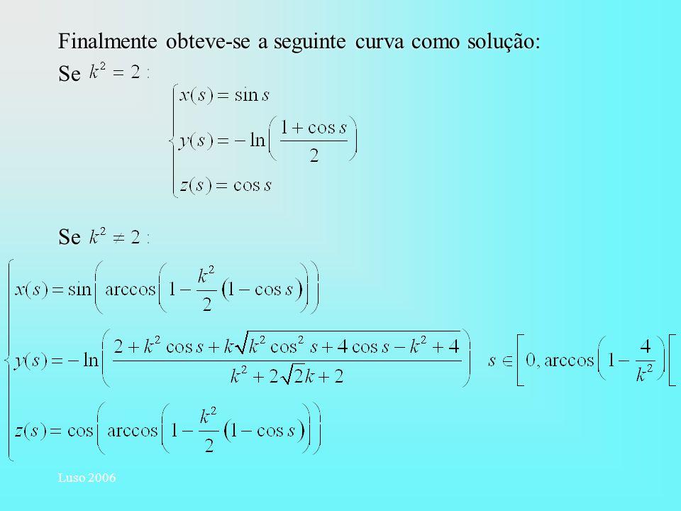 Luso 2006 Finalmente obteve-se a seguinte curva como solução: Se Finalmente obteve-se a seguinte curva como solução: Se