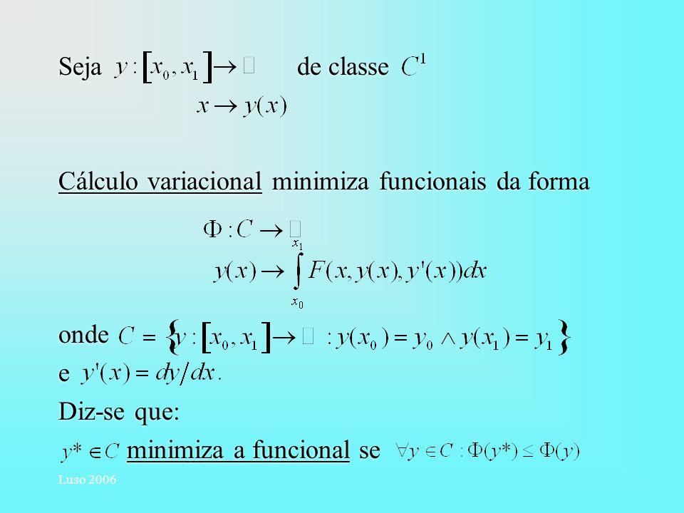Luso 2006 Seja de classe Cálculo variacional minimiza funcionais da forma onde e Diz-se que: minimiza a funcional se Seja de classe Cálculo variaciona