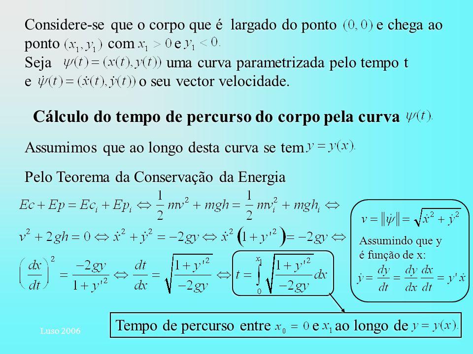 Luso 2006 Considere-se que o corpo que é largado do ponto e chega ao ponto com e Sejauma curva parametrizada pelo tempo t e o seu vector velocidade. C
