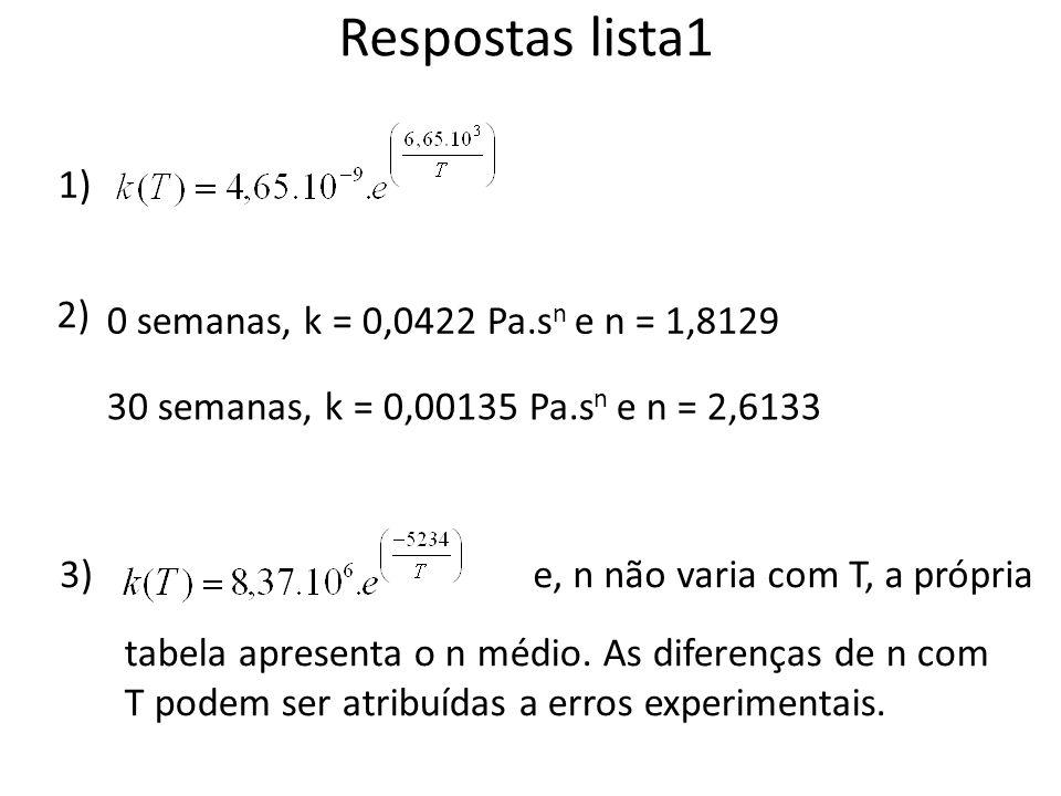 Respostas lista1 1) 2) 0 semanas, k = 0,0422 Pa.s n e n = 1,8129 30 semanas, k = 0,00135 Pa.s n e n = 2,6133 3)e, n não varia com T, a própria tabela apresenta o n médio.