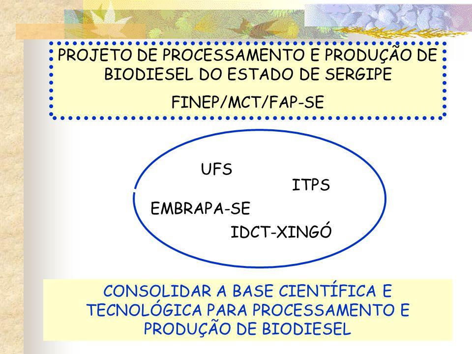 PROJETO DE PROCESSAMENTO E PRODUÇÃO DE BIODIESEL DO ESTADO DE SERGIPE FINEP/MCT/FAP-SE CONSOLIDAR A BASE CIENTÍFICA E TECNOLÓGICA PARA PROCESSAMENTO E PRODUÇÃO DE BIODIESEL UFS EMBRAPA-SE ITPS IDCT-XINGÓ