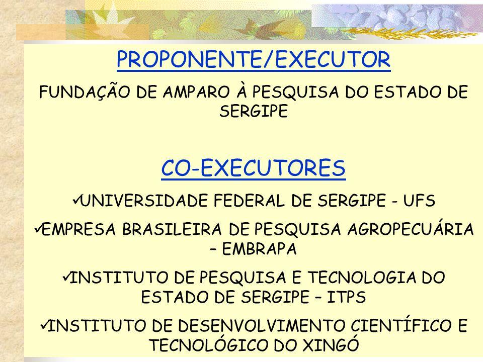 PROPONENTE/EXECUTOR FUNDAÇÃO DE AMPARO À PESQUISA DO ESTADO DE SERGIPE CO-EXECUTORES UNIVERSIDADE FEDERAL DE SERGIPE - UFS EMPRESA BRASILEIRA DE PESQUISA AGROPECUÁRIA – EMBRAPA INSTITUTO DE PESQUISA E TECNOLOGIA DO ESTADO DE SERGIPE – ITPS INSTITUTO DE DESENVOLVIMENTO CIENTÍFICO E TECNOLÓGICO DO XINGÓ