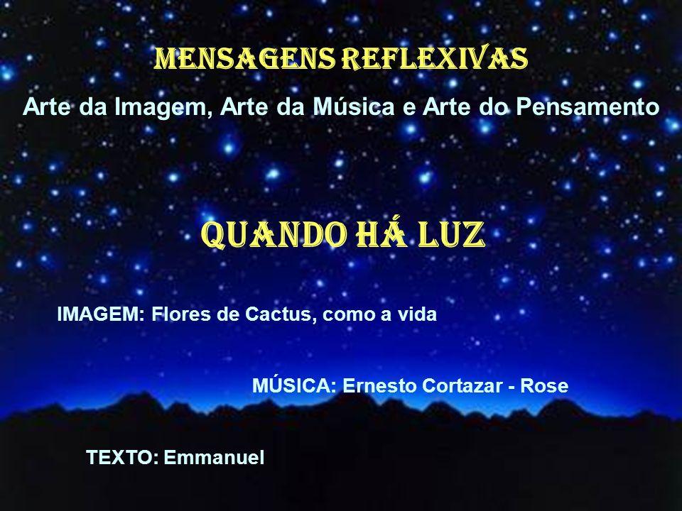 MENSAGENS REFLEXIVAS Arte da Imagem, Arte da Música e Arte do Pensamento QUANDO HÁ LUZ IMAGEM: Flores de Cactus, como a vida MÚSICA: Ernesto Cortazar - Rose TEXTO: Emmanuel
