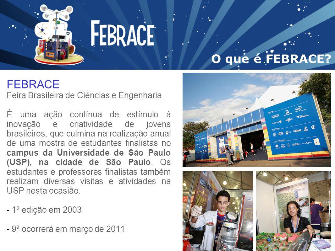 FEBRACE Feira Brasileira de Ciências e Engenharia É uma ação contínua de estímulo à inovação e criatividade de jovens brasileiros, que culmina na real