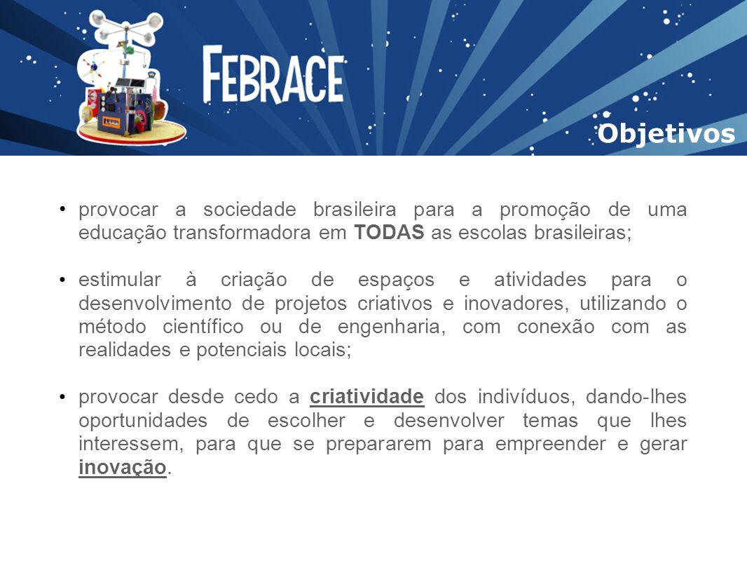 provocar a sociedade brasileira para a promoção de uma educação transformadora em TODAS as escolas brasileiras; estimular à criação de espaços e ativi