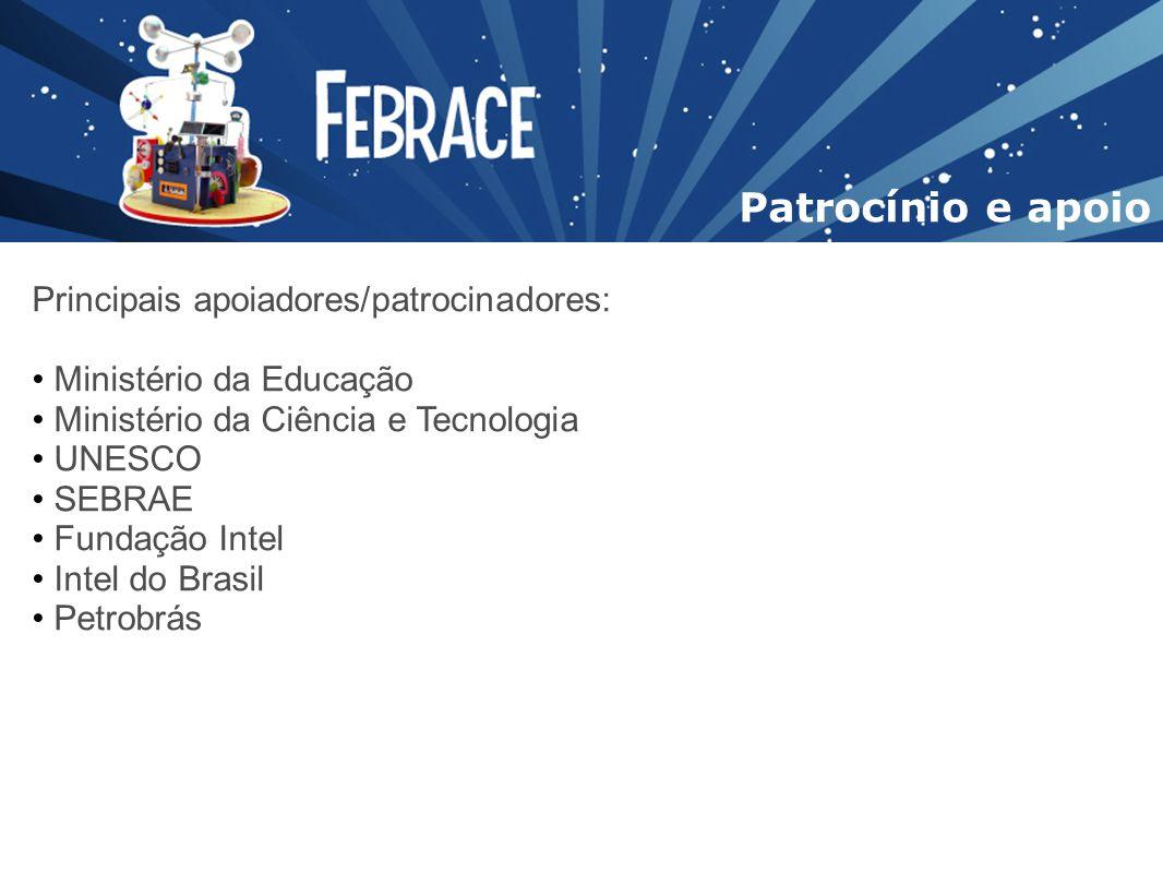 Principais apoiadores/patrocinadores: Ministério da Educação Ministério da Ciência e Tecnologia UNESCO SEBRAE Fundação Intel Intel do Brasil Petrobrás