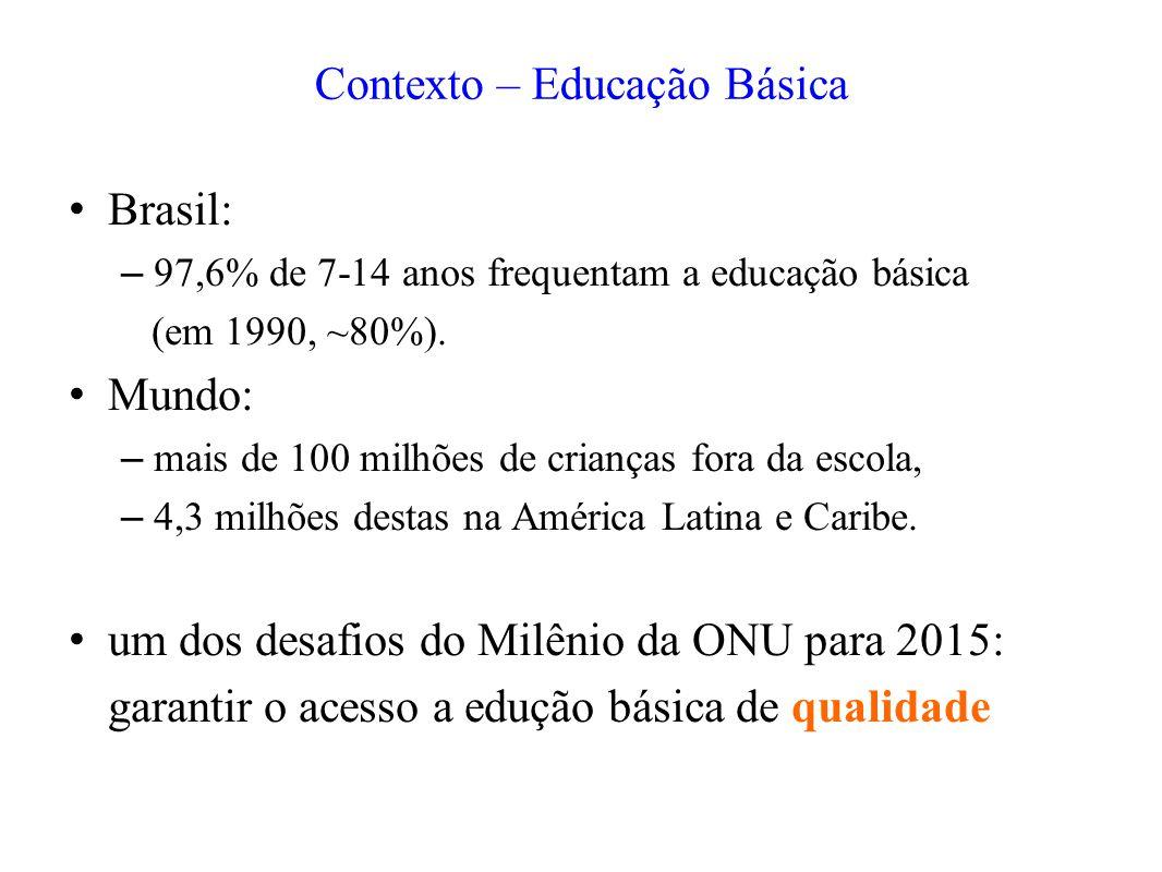 Contexto – Educação Básica Brasil: – 97,6% de 7-14 anos frequentam a educação básica (em 1990, ~80%). Mundo: – mais de 100 milhões de crianças fora da