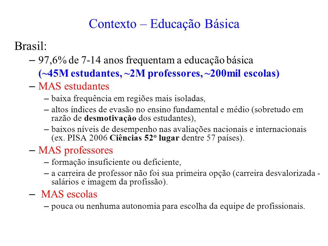 Brasil: – 97,6% de 7-14 anos frequentam a educação básica (~45M estudantes, ~2M professores, ~200mil escolas) – MAS estudantes – baixa frequência em r