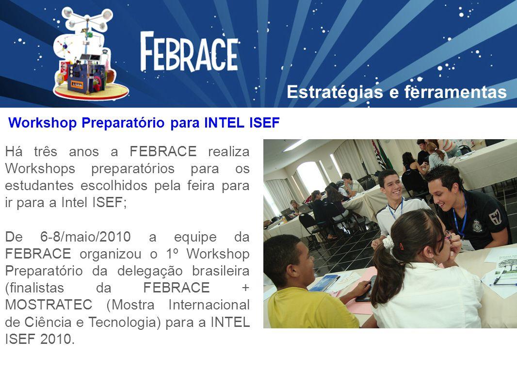 Há três anos a FEBRACE realiza Workshops preparatórios para os estudantes escolhidos pela feira para ir para a Intel ISEF; De 6-8/maio/2010 a equipe d
