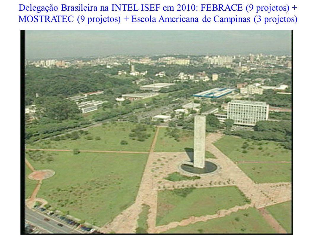 Delegação Brasileira na INTEL ISEF em 2010: FEBRACE (9 projetos) + MOSTRATEC (9 projetos) + Escola Americana de Campinas (3 projetos)