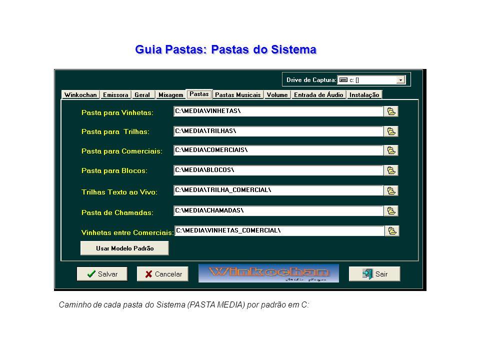 Guia Pastas: Pastas do Sistema Caminho de cada pasta do Sistema (PASTA MEDIA) por padrão em C: