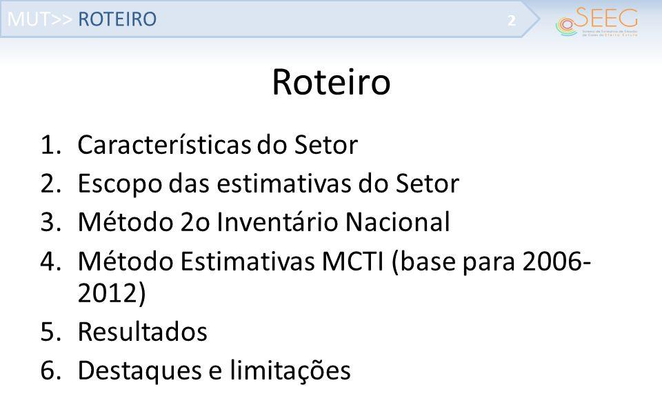 MUT>> MÉTODO 2o INVENTÁRIO NACIONAL 13 Resultados: Emissões de GEE do Brasil