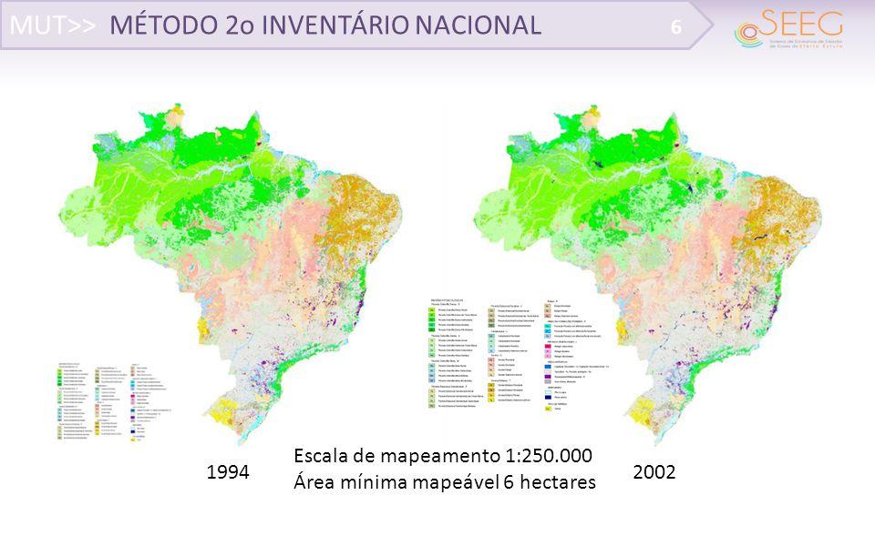 MUT>> MÉTODO BASEADO EM MCTI (2013) 17 Base de dados disponível de desmatamento (2006-2012) PMDBBS PMDBBS e SOS MA