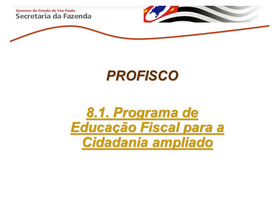 PROFISCO 8.1. Programa de Educação Fiscal para a Cidadania ampliado
