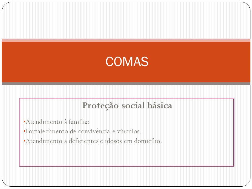Proteção social básica Atendimento à família; Fortalecimento de convivência e vínculos; Atendimento a deficientes e idosos em domicílio.